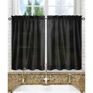 Stacey Black 56 x 24-Inch Tailored Tier Pair Curtains