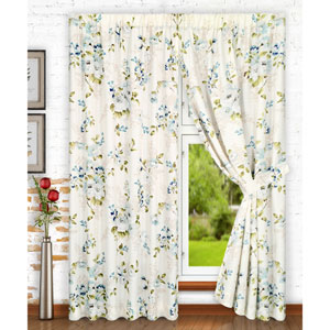 Chatsworth Blue 70 x 63 Inch Tailored Pair Curtains with Ties
