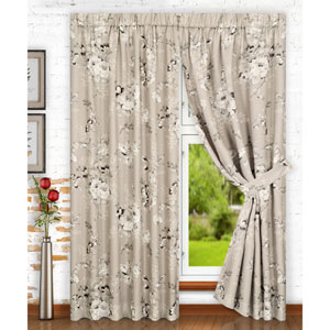 Chatsworth Grey 70 x 63 Inch Tailored Pair Curtains with Ties