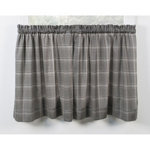 Morrison Black 56 x 24-Inch Tailored Tier Curtains