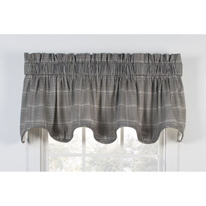 Morrison Black 70 x 17-Inch Lined Scallop Valance
