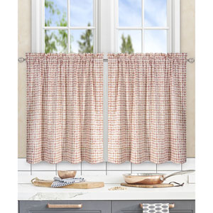 Davins Clay 56 x 24 Inch Tailored Tier Curtains