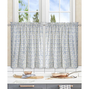 Davins Blue 56 x 36 Inch Tailored Tier Curtains