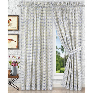Davins Blue 90 x 63 Inch Tailored Pair Curtains with Ties