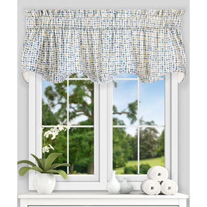 Davins Blue 70 x 17 Inch Lined Scallop Valance