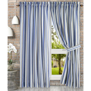 Mason Stripe Blue 90 x 84 Inch Tailored Pair Curtains with Ties