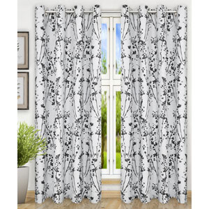 Meadow Chrome 50 x 63 Inch Lined Grommet Top Panel