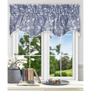 Meadow Cobalt 50 x 15 Inch Lined Scallop Valance