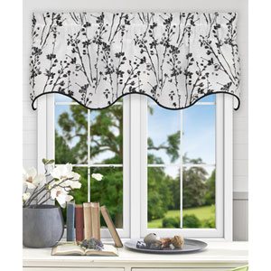 Meadow Chrome 50 x 15 Inch Lined Scallop Valance