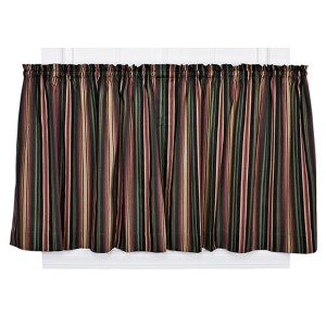 Montego Stripe Black 82 x 24-Inch Tailored Tier Drapery Panel Pair