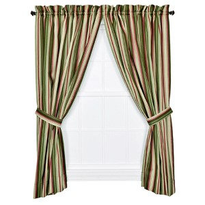 Montego Stripe Green 84 x 82-Inch Panel Pair with Tiebacks