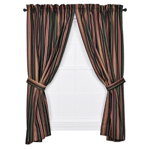 Montego Stripe Black 84 x 82-Inch Panel Pair with Tiebacks