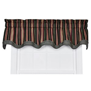 Montego Stripe Black 70 x 15-Inch Bradford Window Valance