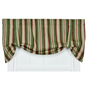 Montego Stripe Green 60 x 24-Inch Tie-Up Window Valance