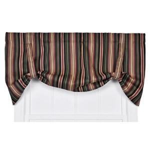 Montego Stripe Black 60 x 24-Inch Tie-Up Window Valance