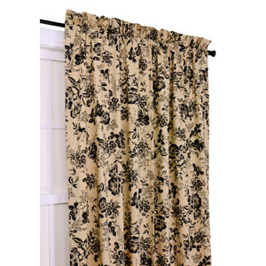 Palmer Black Floral Toile 50-Inch-by-63-Inch Tailored Panel