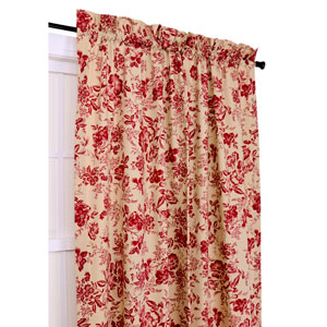 Palmer Red Floral Toile 50-Inch-by-72-Inch Tailored Panel