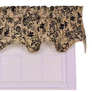 Palmer Black Floral Toile Lined Duchess Valance Window Curtain