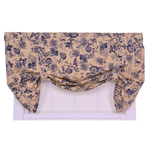 Palmer Navy Floral Toile Lined Tie-Up Valance Window Curtain