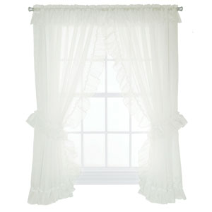 Jessica Sheer 130 x 63-Inch Ruffled Priscilla Pair Curtains with Ties