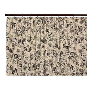 Palmer Black Floral Toile Bathroom Shower Curtain