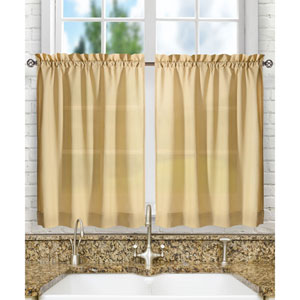 Stacey Almond 56 x 24-Inch Tailored Tier Pair Curtains