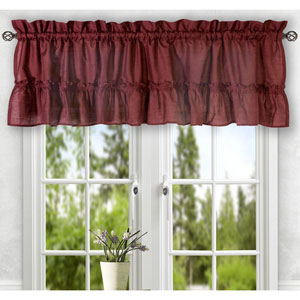 Stacey Merlot 56 x 24-Inch Tailored Tier Pair Curtains