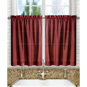 Stacey Merlot 56 x 30-Inch Tailored Tier Pair Curtains