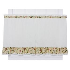 Cherries Natural 58 x 30-Inch Ruffled Tailored Tier Curtain Pair
