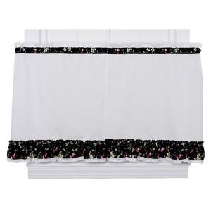 Cherries Black 58 x 30-Inch Ruffled Tailored Tier Curtain Pair