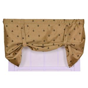 Fleur Di Lis Faux Silk 30 x 50-Inch Lined Tie-Up Valance Window Curtain