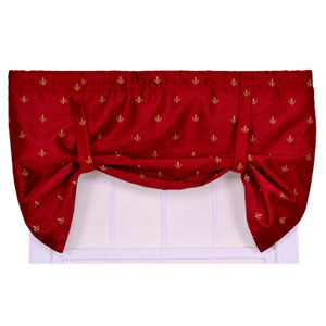 Fleur Di Lis Faux Silk 30 x 50-Inch Lined Tie-Up Valance Window Curtain
