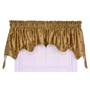 Fleur Di Lis Faux Silk 30 x 100-Inch Lined Two-Piece Duchess Valance Window Curtain