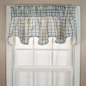Bristol Two-Tone Plaid 15 x 70-Inch Lined Scallop Valance Curtain