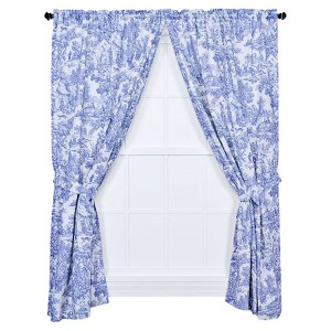 Victoria Park Blue 68 x 63-Inch Tailored Curtain Pair with Tiebacks