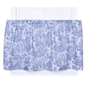 Victoria Park Blue 68 x 24-Inch Tailored Tier Curtain Pair