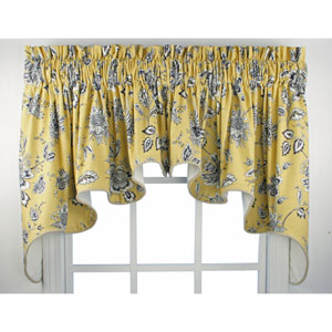 Jeanette Medium Scale Jacobean 30 x 100-Inch Lined Duchess Valance Window Curtain