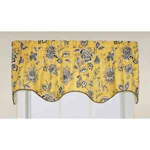 Jeanette Medium Scale Jacobean 15 x 50-Inch Lined Duchess Filler Valance Window Curtain