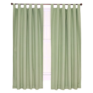 Crosby Sage Thermal Insulated 80-by-54 inch Tab Top Foamback Curtains