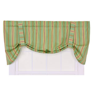 Warwick Green Medium Scale Stripe Tie-Up Valance