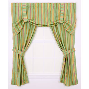Warwick Green Medium Scale Stripe 68-by-84 Inch Tailored Panel Pair Curtains With Tiebacks