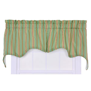 Warwick Green Medium Scale Stripe 70-by-28 Inch Empress 2-Piece Lined  Swag Valance