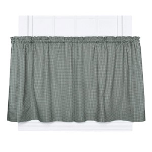 Logan Check Green 68 x 24-Inch Tailored Tier Curtain Pair