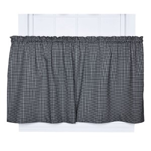 Logan Check Black 68 x 24-Inch Tailored Tier Curtain Pair