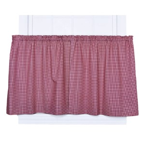 Logan Check Red 68 x 24-Inch Tailored Tier Curtain Pair
