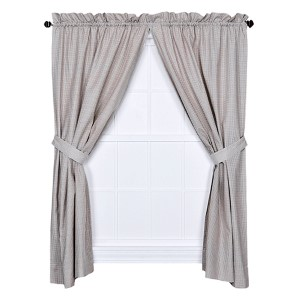 Logan Check Linen 68 x 63-Inch Curtain Pair with Tiebacks