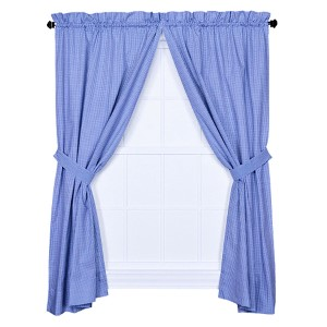 Logan Check Blue 68 x 63-Inch Curtain Pair with Tiebacks