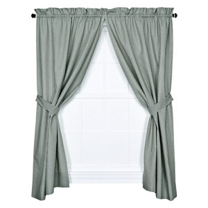 Logan Check Green 68 x 63-Inch Curtain Pair with Tiebacks