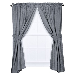 Logan Check Black 68 x 63-Inch Curtain Pair with Tiebacks