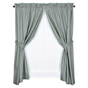 Logan Check Green 68 x 84-Inch Curtain Pair with Tiebacks